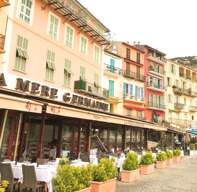 Terrace cafes in Villefrance, France.