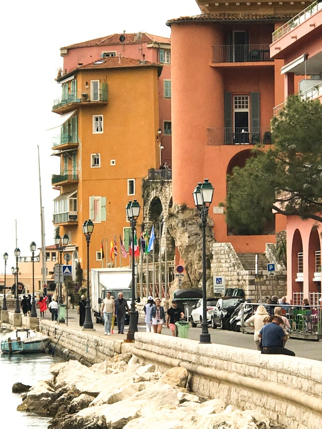 The colorful buildings along the harbor of Villefranche.