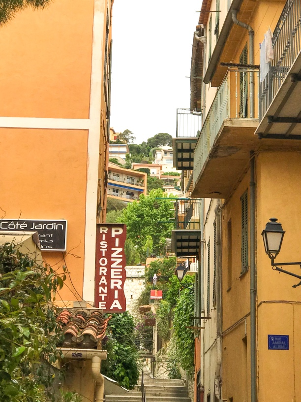 View of the narrow streets of Villefranche.